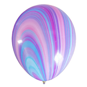 Blue, purple, pink unique marble design balloon