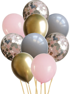 Grey, pink, chrome gold and pink confetti balloon bundle
