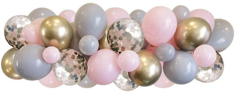 Light pink, grey, chrome gold and pink confetti balloons strung along a decorating strip to create balloon garland/arch