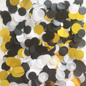 Black, White and metallic gold confetti mixture. Perfect for wedding, hens party, and birthday parties.
