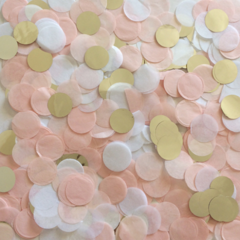 Blush Pink, White and metallic white gold 2cm round confetti mixture. Perfect for wedding, hens party, baby girl baby shower and birthday parties.