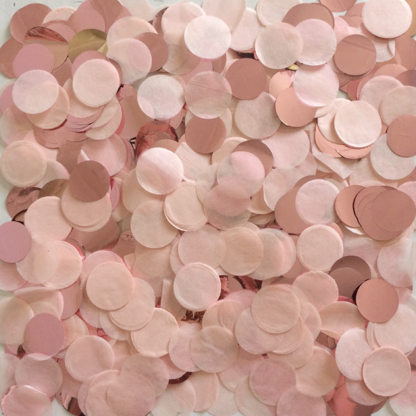 Light blush pink and metallic rose gold 2cm round confetti