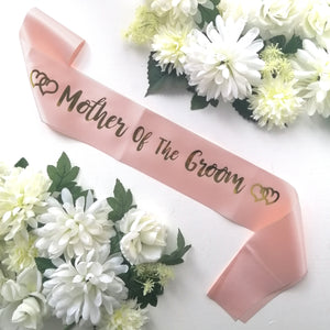Pink and Gold Mother of the Groom Sash