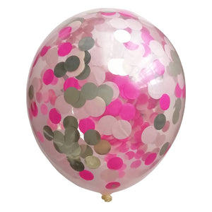 Light pink, dark pink and metallic white gold 2cm round confetti inside a clear latex balloon