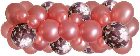 Rose Gold, rose gold confetti balloons strung along a decorating strip to create balloon arch/garland