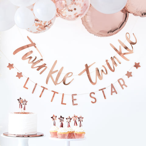 'Twinkle Twinkle Little Star' Rose Gold Banner