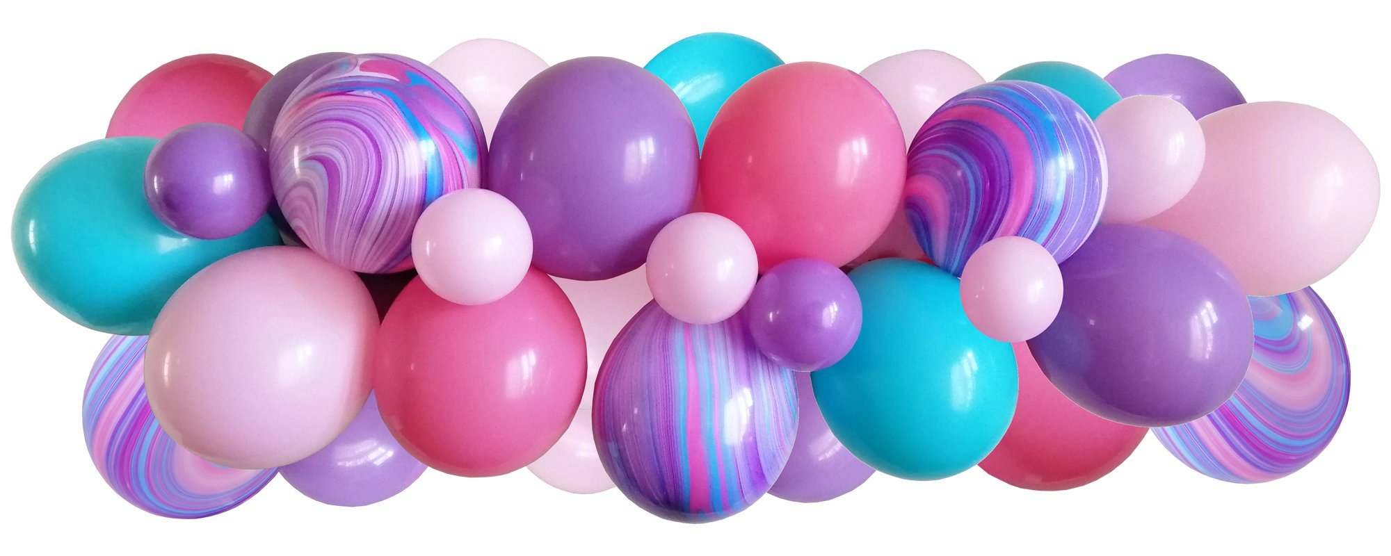 Pink, blue, unicorn marble balloons strung along a decorating strip to create a balloon garland/arch