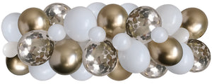 white, chrome gold, gold confetti balloons strung along a decorating strip to create a balloon garland/arch