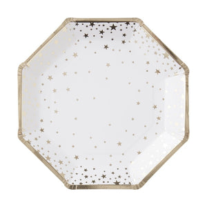 Metallic Foil Star Hexagon Paper Plate