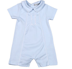 Noah Blue and White Trim Pima Playsuit