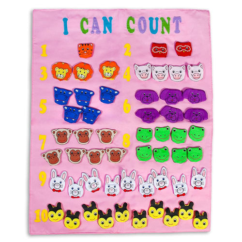 I Can Count Finger Puppets Pink Wall Hanging