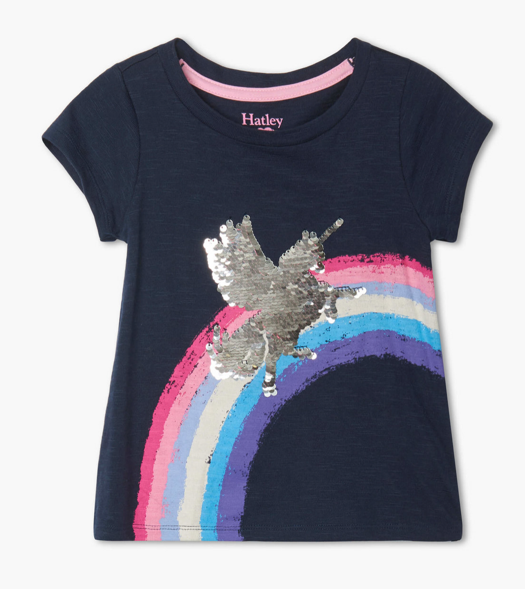 Shimmer Unicorn Flip Sequin Tee- Toddler Girls