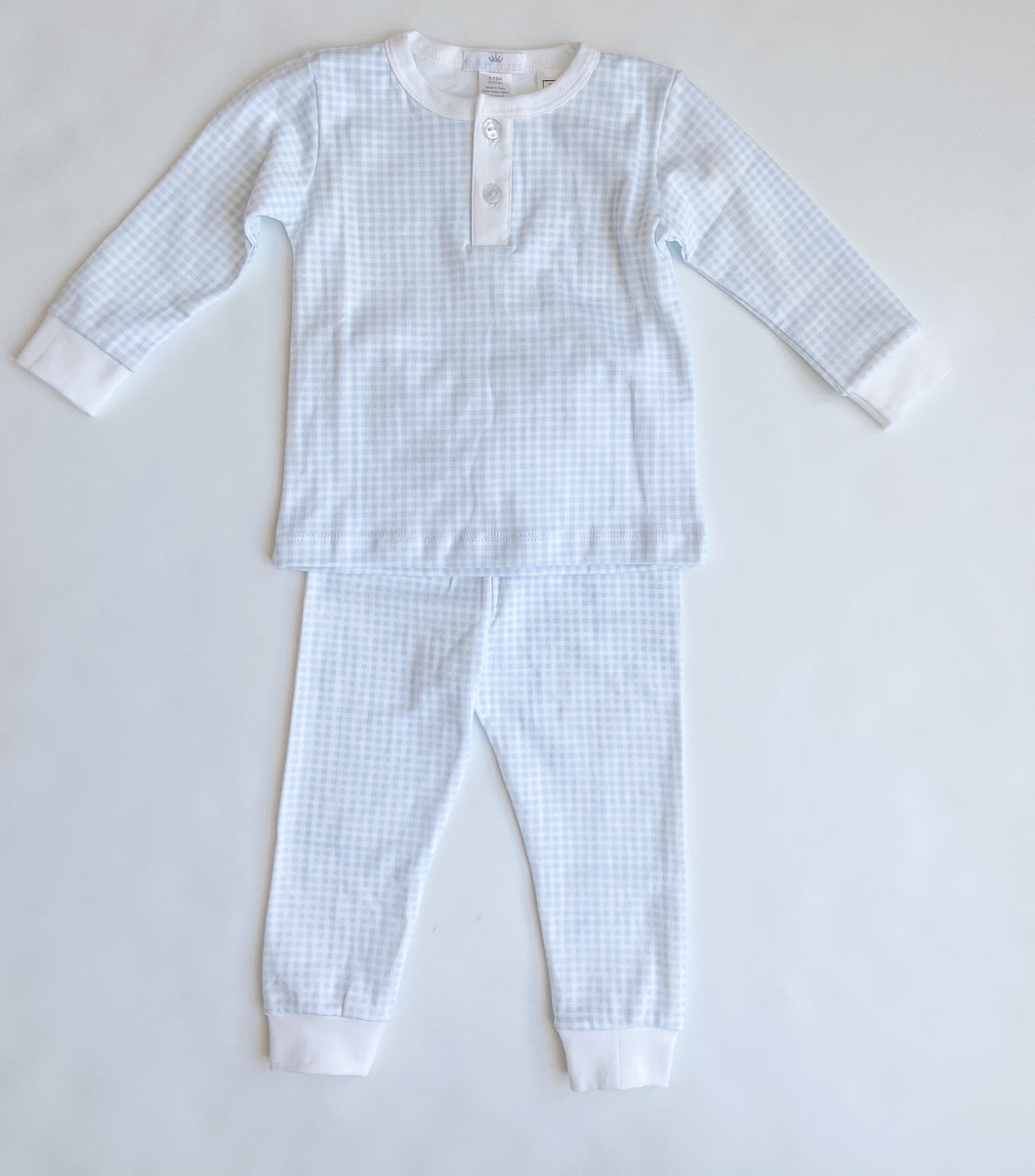 Blue Gingham Loungewear Set - Toddler Boys