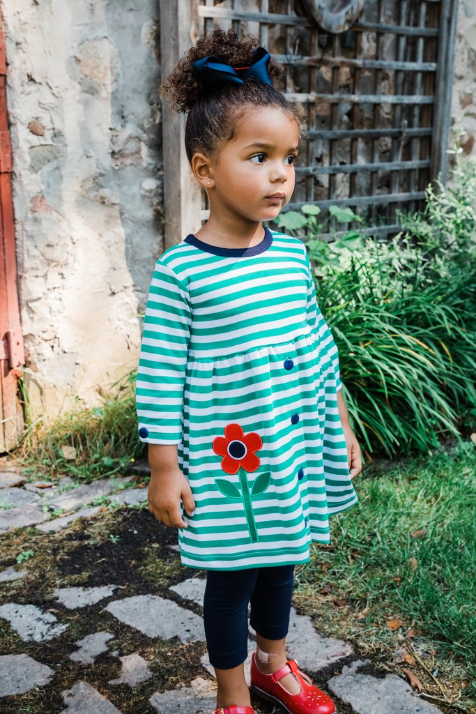 Green Stripe Dress with Tulips and Leggings