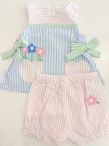 Seersucker Dress and Bloomer With Flowers