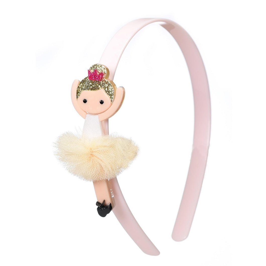 Headband Ballerina Gold Hair/ Beige Tutu