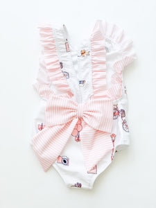 Paris Swimsuit Ruffle -4-6 Girls