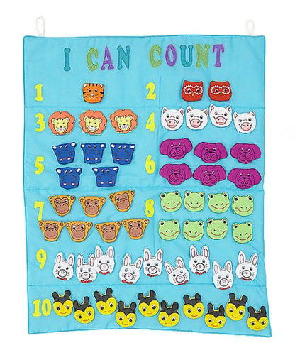 I Can Count Finger Puppets Blue Wall Hanging