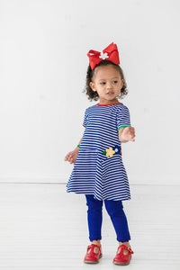 Short Sleeve Knit Dress with Flowers - Toddler Girls