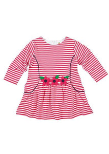 Long Sleeve Knit Dress with Flowers - Toddler Girls