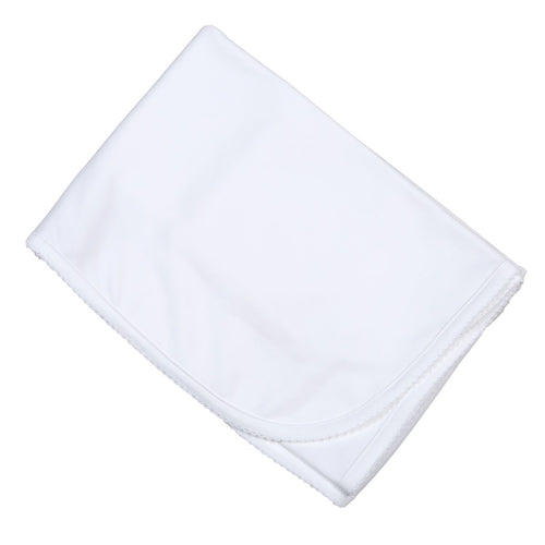White Receiving Blanket with Trim