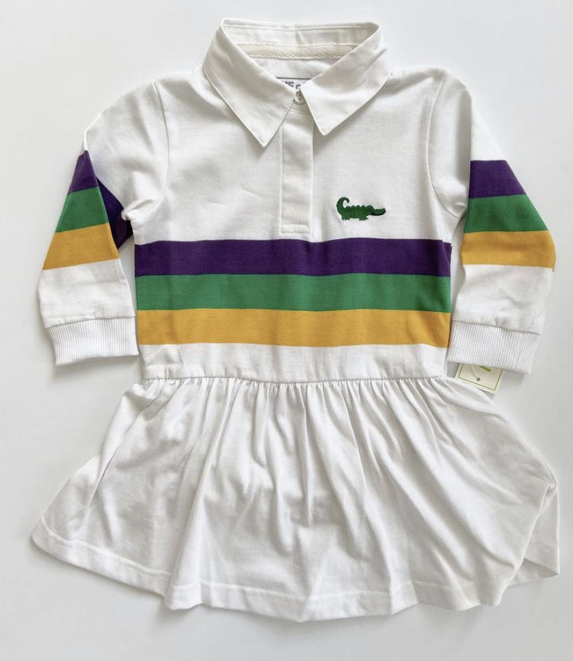Mardi Gras LS Rugby Dress Drop Waist