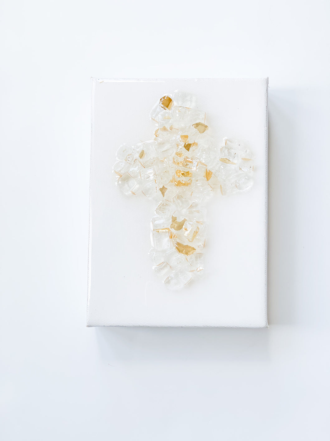 Crushed Glass Cross on Canvas - Clear Gold