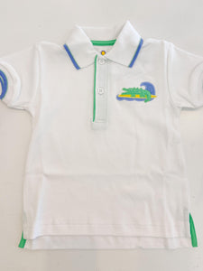 Knit Polo Shirt with Surfing Alligator