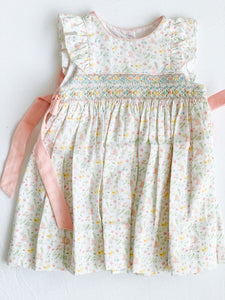 Lindsey - Smocked Ruffle Sleeve Dress Yellow Flower