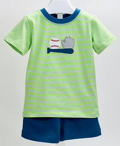 Baseball Applique Boys Short Set