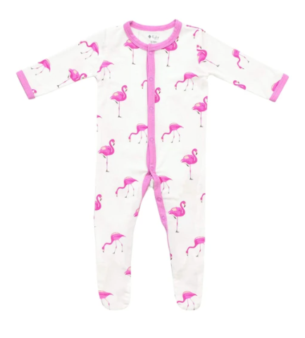 Printed Zippered Footie Flamingo