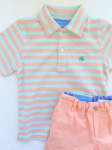 Henry Polo Coral/Mint Stripe