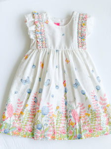 Dress Smocked Ruffles Spring Garden Print 3000D