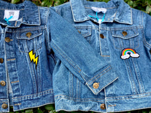 Load image into Gallery viewer, CUSTOM DENIM JACKET- Classic Rainbow Letters WITH Leopard + Rainbow Patch