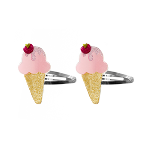 Ice Cream Snap Clips Pink Satin with Glitter
