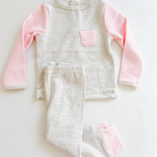 2 PC Cotton Rib Play Suit Light Grey with Pink