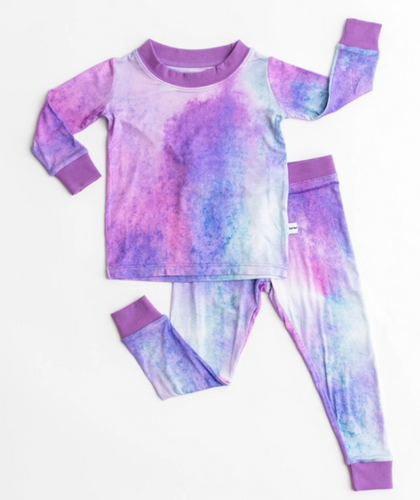 Purple Watercolor Bamboo Two Piece Pajamas