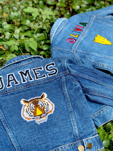 CUSTOM DENIM JACKET- Basic Black + White College Letters NAME ONLY