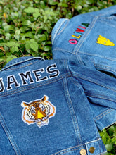 Load image into Gallery viewer, CUSTOM DENIM JACKET- Classic Black + White College Letters WITH Leopard + Bolt patch