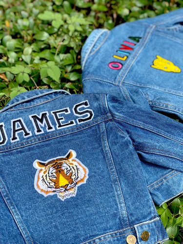 CUSTOM DENIM JACKET- Classic Black + White College Letters WITH Leopard + Bolt patch
