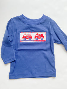 Firetruck Smocked T-Shirt - 4-6 Boys