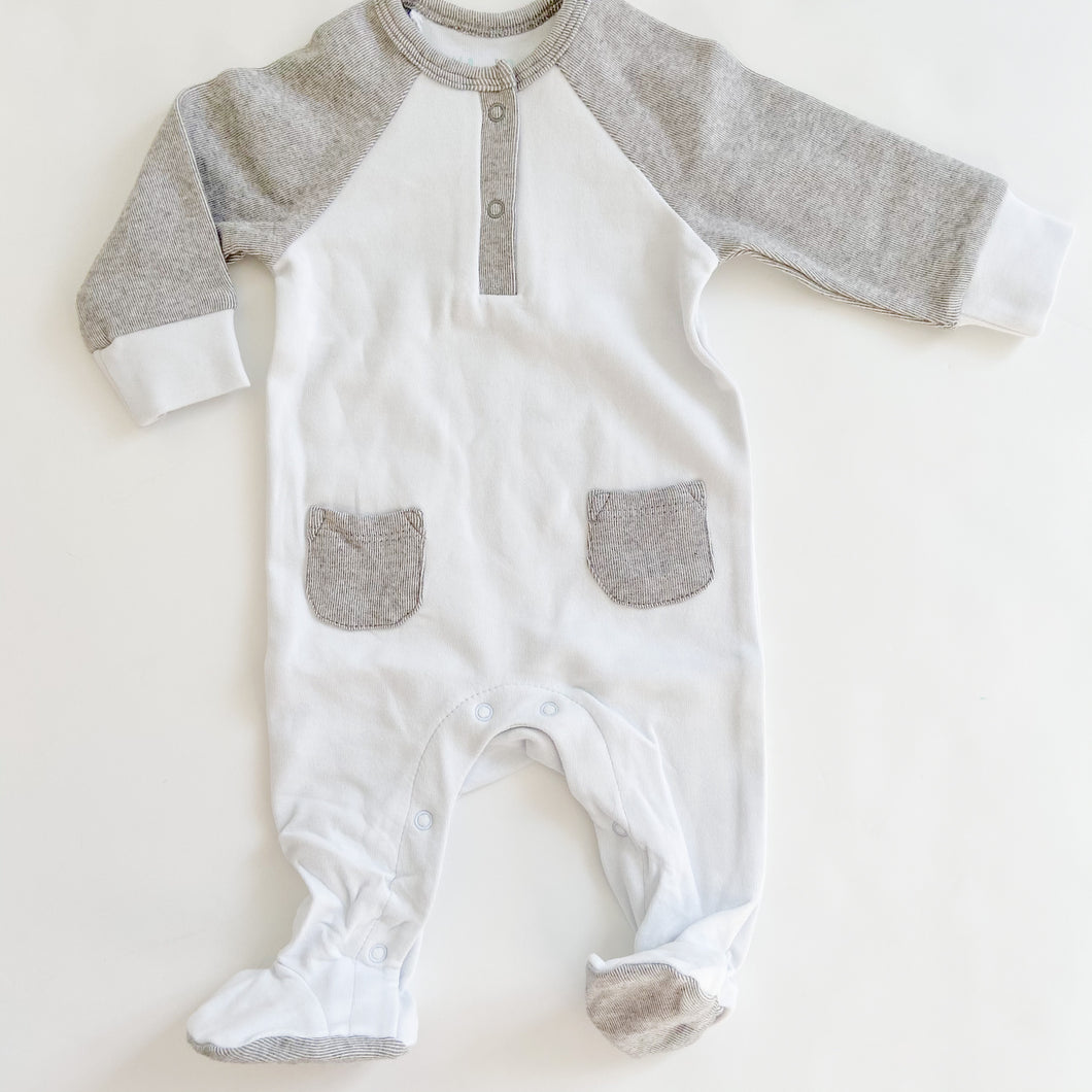 Cotton Rib Footsie Blue with Grey Sleeve