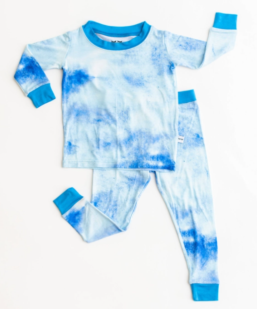 Blue Watercolor Bamboo Two Piece Pajama