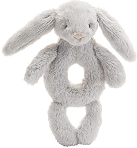 Bashful Bunny Ring Rattle-Toy - grey