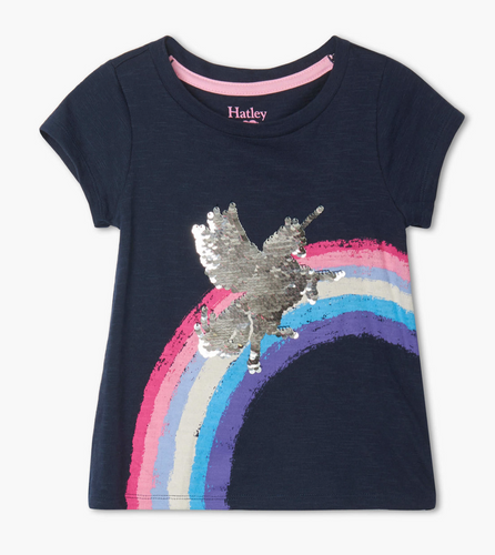 Shimmer Unicorn Flip Sequin Tee- 4-6Girls