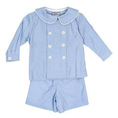 Lt Blue Cord Dressy Short Set - Infant