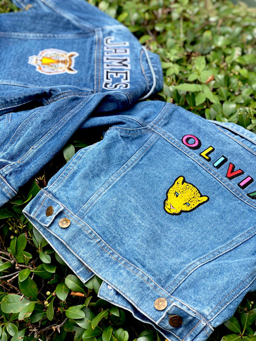 CUSTOM DENIM JACKET- Classic Rainbow Letters WITH Leopard + Rainbow Patch