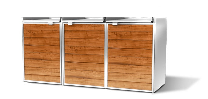 Urbin Triple Lid Closed -  Modern Outdoor Trash Storage Shed