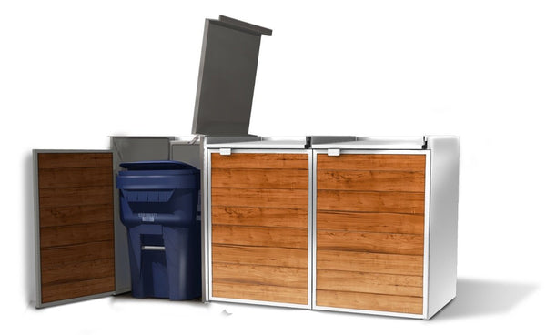 Urbin Triple Lid Open -  Modern Outdoor Trash Storage Shed