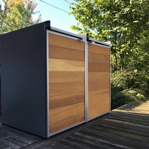 Urbin Double - Modern Outdoor Trash Shed - Front View